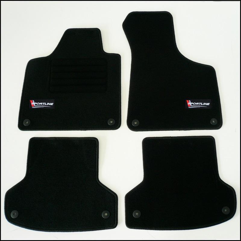 4 tapis sol moquette noir logo sportline audi a3 8pa. Black Bedroom Furniture Sets. Home Design Ideas