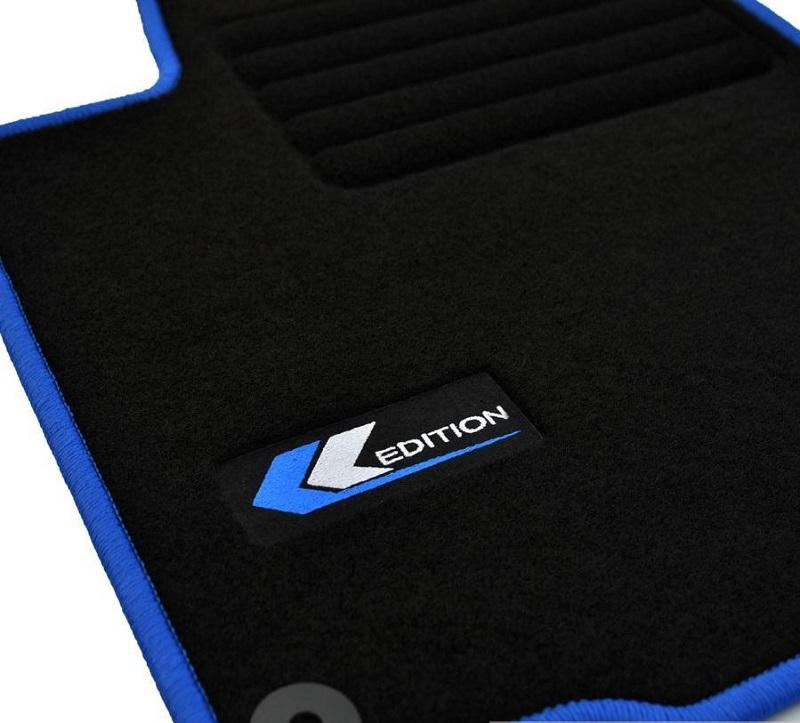 4 tapis sol moquette noir logo edition bleu vw golf 4 iv 1 9 tdi 101 rond ebay. Black Bedroom Furniture Sets. Home Design Ideas