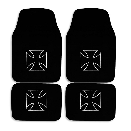 4 tapis sol moquette noir logo croix de malte citro n xsara picasso ebay. Black Bedroom Furniture Sets. Home Design Ideas