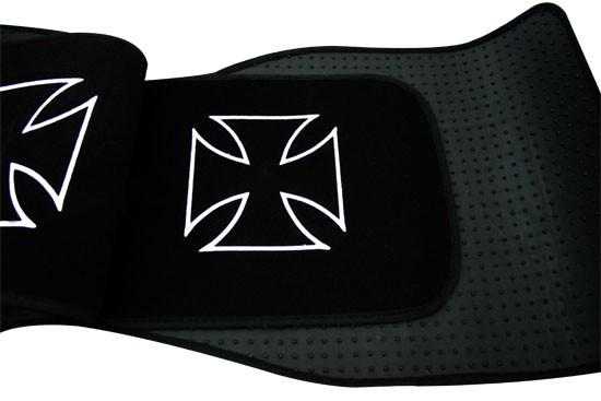 4 tapis sol moquette noir logo iron cross proton wira ebay. Black Bedroom Furniture Sets. Home Design Ideas